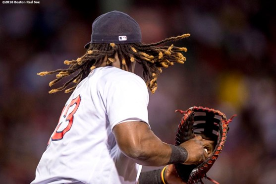 BOSTON, MA - SEPTEMBER 14: Hanley Ramirez #13 of the Boston Red Sox prepares to toss the ball to first base during the fifth inning of a game against the Baltimore Orioles on September 14, 2016 at Fenway Park in Boston, Massachusetts. (Photo by Billie Weiss/Boston Red Sox/Getty Images) *** Local Caption *** Hanley Ramirez