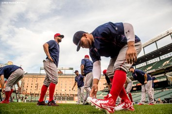 BALTIMORE, MD - SEPTEMBER 21: Yoan Moncada #65 of the Boston Red Sox stretches before a game against the Baltimore Orioles on September 21, 2016 at Oriole Park at Camden Yards in Baltimore, Maryland. (Photo by Billie Weiss/Boston Red Sox/Getty Images) *** Local Caption *** Yoan Moncada