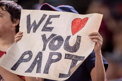 BALTIMORE, MD - SEPTEMBER 22: A fan holds a sign for David Ortiz #34 of the Boston Red Sox during a game against the Baltimore Orioles on September 22, 2016 at Oriole Park at Camden Yards in Baltimore, Maryland. (Photo by Billie Weiss/Boston Red Sox/Getty Images) *** Local Caption *** David Ortiz