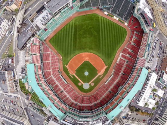 BOSTON, MA - SEPTEMBER 30: A pattern of David Ortiz #34 of the Boston Red Sox is shown in the centerfield grass before a game against the Toronto Blue Jays on September 30, 2016 at Fenway Park in Boston, Massachusetts. (Photo by Billie Weiss/Boston Red Sox/Getty Images) *** Local Caption *** David Ortiz