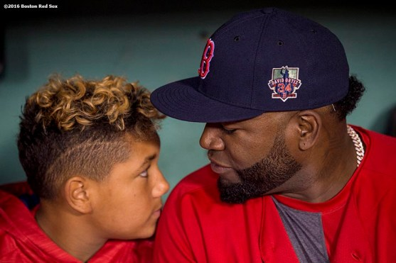 BOSTON, MA - SEPTEMBER 30: David Ortiz #34 of the Boston Red Sox reacts with his son D'Angelo Ortiz before a game against the Toronto Blue Jays on September 30, 2016 at Fenway Park in Boston, Massachusetts. (Photo by Billie Weiss/Boston Red Sox/Getty Images) *** Local Caption *** David Ortiz; D'Angelo Ortiz