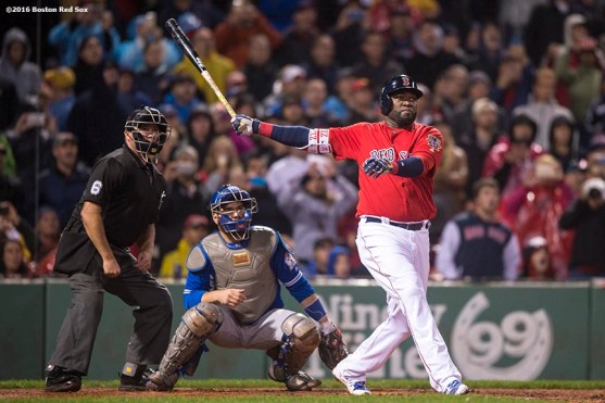 BOSTON, MA - SEPTEMBER 30: David Ortiz #34 of the Boston Red Sox hits a go ahead two run home run during the seventh inning of a game against the Toronto Blue Jays on September 30, 2016 at Fenway Park in Boston, Massachusetts. (Photo by Billie Weiss/Boston Red Sox/Getty Images) *** Local Caption *** David Ortiz