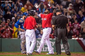 BOSTON, MA - SEPTEMBER 30: David Ortiz #34 of the Boston Red Sox reacts after hitting a go ahead two run home run during the seventh inning of a game against the Toronto Blue Jays on September 30, 2016 at Fenway Park in Boston, Massachusetts. (Photo by Billie Weiss/Boston Red Sox/Getty Images) *** Local Caption *** David Ortiz
