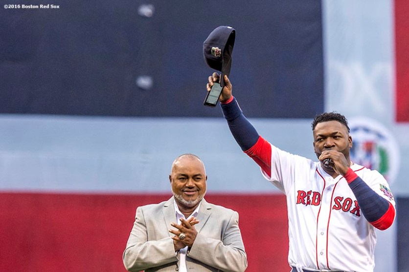 BOSTON, MA - OCTOBER 2: David Ortiz #34 of the Boston Red Sox tips his cap as he speaks alongside his father, Leo Ortiz, during an honorary retirement ceremony in his final regular season game at Fenway Park against the Toronto Blue Jays on October 2, 2016 at Fenway Park in Boston, Massachusetts. (Photo by Billie Weiss/Boston Red Sox/Getty Images) *** Local Caption *** David Ortiz; Leo Ortiz