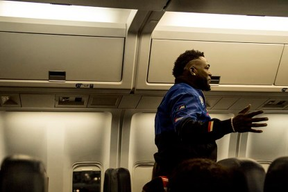 BOSTON, MA - OCTOBER 4: David Ortiz #34 of the Boston Red Sox reacts on the plane before game one of the American League Division Series against the Cleveland Indians on October 4, 2016 at Fenway Park in Boston, Massachusetts. (Photo by Billie Weiss/Boston Red Sox/Getty Images) *** Local Caption *** David Ortiz