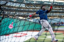CLEVELAND, OH - OCTOBER 5: David Ortiz #34 of the Boston Red Sox takes batting practice during a team workout before game one of the American League Division Series against the Cleveland Indians on October 5, 2016 at Progressive Field in Cleveland, Ohio. (Photo by Billie Weiss/Boston Red Sox/Getty Images) *** Local Caption *** David Ortiz