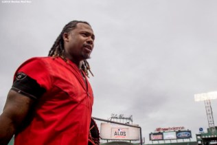 BOSTON, MA - OCTOBER 8: Hanley Ramirez #13 of the Boston Red Sox looks on during a workout before game three of the American League Division Series against the Cleveland Indians on October 8, 2016 at Fenway Park in Boston, Massachusetts. (Photo by Billie Weiss/Boston Red Sox/Getty Images) *** Local Caption *** Hanley Ramirez