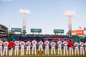 BOSTON, MA - OCTOBER 10: Members of the Boston Red Sox are introduced before game three of the American League Division Series against the Cleveland Indians on October 10, 2016 at Fenway Park in Boston, Massachusetts. (Photo by Billie Weiss/Boston Red Sox/Getty Images) *** Local Caption ***