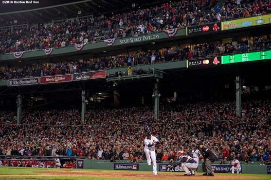 BOSTON, MA - OCTOBER 10: David Ortiz #34 of the Boston Red Sox bats during the final at bat of his career during the eighth inning of game three of the American League Division Series against the Cleveland Indians on October 10, 2016 at Fenway Park in Boston, Massachusetts. (Photo by Billie Weiss/Boston Red Sox/Getty Images) *** Local Caption *** David Ortiz