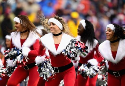 FOXBORO, MA - DECEMBER 24: The New England Patriots cheerleaders dance during a game against the New York Jets at Gillette Stadium on December 24, 2016 in Foxboro, Massachusetts. (Photo by Billie Weiss/Getty Images)