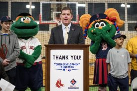 January 25, 2017, Boston, MA: Boston Mayor Martin J. Walsh speaks during the unveiling of a new indoor batting cage at the BCYFTobin Community Center in Roxbury Crossing, Massachusetts Wednesday, January 25, 2017. (Photos by Billie Weiss/Boston Red Sox)