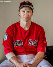 FT. MYERS, FL - FEBRUARY 28: Brock Holt #12 of the Boston Red Sox poses for a portrait before a Spring Training game against the New York Yankees on February 28, 2017 at Fenway South in Fort Myers, Florida . (Photo by Billie Weiss/Boston Red Sox/Getty Images) *** Local Caption *** Brock Holt