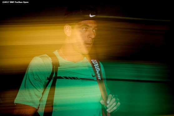 Juan Martin Del Potro walks out of the tunnel before a match against Federico Delbonis during the 2017 BNP Paribas Open at the Indian Wells Tennis Garden in Indian Wells, California on Sunday, March 12, 2017. (Photo by Billie Weiss/BNP Paribas Open)