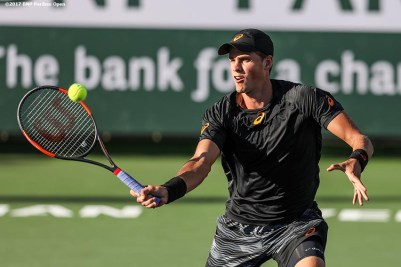 Vasek Posposil in action during a match against Dusan Lajovic during the 2017 BNP Paribas Open at the Indian Wells Tennis Garden in Indian Wells, California on Monday, March 13, 2017. (Photo by Billie Weiss/BNP Paribas Open)