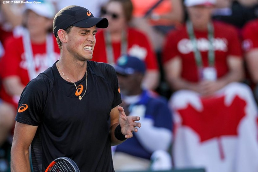Vasek Posposil reacts during a match against Dusan Lajovic during the 2017 BNP Paribas Open at the Indian Wells Tennis Garden in Indian Wells, California on Monday, March 13, 2017. (Photo by Billie Weiss/BNP Paribas Open)
