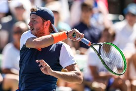 Lucas Pouille in action during a match against Donald Young at the Indian Wells Tennis Garden in Indian Wells, California on Tuesday, March 14, 2017. (Photo by Billie Weiss/BNP Paribas Open)