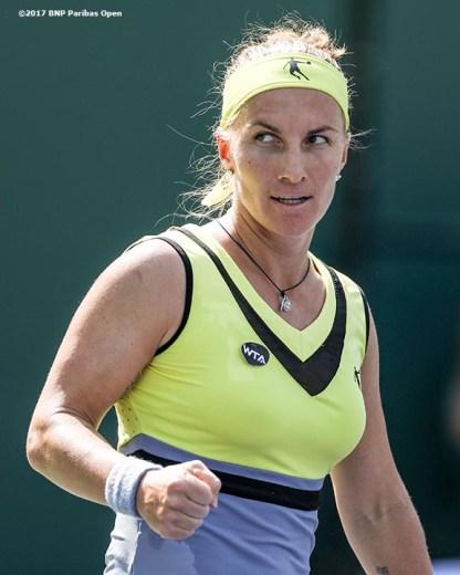Svetlana Kuznetsova reacts after defeating Anastasia Pavlyuchenkova at the Indian Wells Tennis Garden in Indian Wells, California on Saturday, March 11, 2017. (Photo by Billie Weiss/BNP Paribas Open)