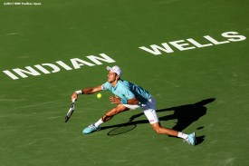 Novak Djokovic in action during a match against Nick Kyrgios at the Indian Wells Tennis Garden in Indian Wells, California on Saturday, March 11, 2017. (Photo by Billie Weiss/BNP Paribas Open)