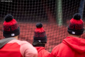 BOSTON, MA - APRIL 5: Members of the Boston Red Sox look on during batting practice before a game against the Pittsburgh Pirates on April 5, 2017 at Fenway Park in Boston, Massachusetts. (Photo by Billie Weiss/Boston Red Sox/Getty Images) *** Local Caption ***