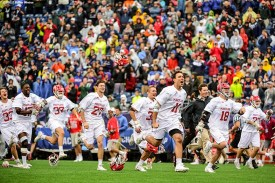 FOXBORO, MA - MAY 29: Members of the Maryland Terrapins storm the field as they win the Division I Men's Lacrosse Championship against the Ohio State Buckeyes at Gillette Stadium on May 29, 2017 in Foxboro, Massachusetts. (Photo by Billie Weiss/Getty Images) *** Local Caption ***