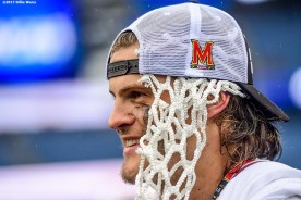 FOXBORO, MA - MAY 29: Taylor Heacock #2 of the Maryland Terrapins looks on with a piece of the nut lodged in his hat after winning the Division I Men's Lacrosse Championship against the Ohio State Buckeyes at Gillette Stadium on May 29, 2017 in Foxboro, Massachusetts. (Photo by Billie Weiss/Getty Images) *** Local Caption *** Taylor Heacock