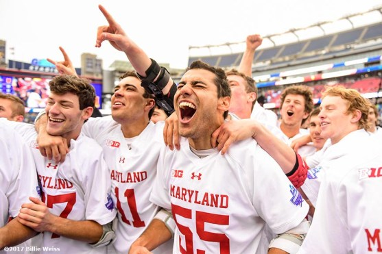 FOXBORO, MA - MAY 29: Members of the Maryland Terrapins react as they pose for a team photograph after winning the Division I Men's Lacrosse Championship against the Ohio State Buckeyes at Gillette Stadium on May 29, 2017 in Foxboro, Massachusetts. (Photo by Billie Weiss/Getty Images) *** Local Caption ***