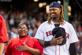 BOSTON, MA - JUNE 11: The 2017 Class of Boston Red Sox Scholars pre-game ceremony is held before a game between the Boston Red Sox and the Detroit Tigers on June 11, 2017 at Fenway Park in Boston, Massachusetts. (Photo by Billie Weiss/Boston Red Sox/Getty Images) *** Local Caption ***