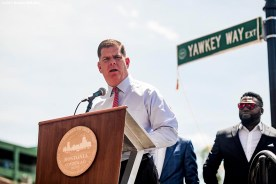 June 22, 2017, Boston, MA: Boston Mayor Marty Walsh speaks during the unveiling of David Ortiz Drive, formerly known as Yawkey Way Extension, at Fenway Park in Boston, Massachusetts Thursday, June 22, 2017. (Photo by Billie Weiss/Boston Red Sox)