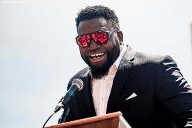 June 22, 2017, Boston, MA: Former Boston Red Sox designated hitter David Ortiz speaks during the unveiling of David Ortiz Drive, formerly known as Yawkey Way Extension, at Fenway Park in Boston, Massachusetts Thursday, June 22, 2017. (Photo by Billie Weiss/Boston Red Sox)