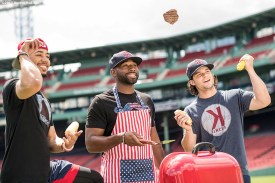 BOSTON, MA - JUNE 28: Mookie Betts #50, Jackie Bradley Jr. #19, and Andrew Benintendi #16 of the Boston Red Sox pose for a portrait for the cover of Red Sox Magazine before a game against the Minnesota Twins on June 28, 2017 at Fenway Park in Boston, Massachusetts. (Photo by Billie Weiss/Boston Red Sox/Getty Images) *** Local Caption *** Andrew Benintendi; Mookie Betts; Jackie Bradley Jr.