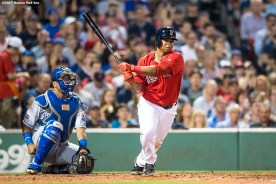 BOSTON, MA - JULY 28: Rafael Devers #11 of the Boston Red Sox hits a double during the fifth inning of a game against the Kansas City Royals on July 28, 2017 at Fenway Park in Boston, Massachusetts. (Photo by Billie Weiss/Boston Red Sox/Getty Images) *** Local Caption *** Rafael Devers
