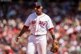 BOSTON, MA - July 30: Rafael Devers #11 of the Boston Red Sox looks on during the fourth inning of a game against the Kansas City Royals on July 30, 2017 at Fenway Park in Boston, Massachusetts. (Photo by Billie Weiss/Boston Red Sox/Getty Images) *** Local Caption *** Rafael Devers