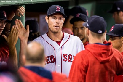 BOSTON, MA - JULY 31: Doug Fister #38 of the Boston Red Sox high fives teammates after exiting the game during the eighth inning of a game against the Cleveland Indians on July 31, 2017 at Fenway Park in Boston, Massachusetts. (Photo by Billie Weiss/Boston Red Sox/Getty Images) *** Local Caption *** Doug Fister