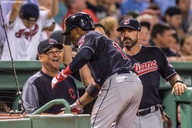 BOSTON, MA - AUGUST 1: Francisco Lindor #12 of the Cleveland Indians reacts with manager Terry Francona after hitting a game tying home run during the ninth inning of a game against the Boston Red Sox on August 1, 2017 at Fenway Park in Boston, Massachusetts. (Photo by Billie Weiss/Boston Red Sox/Getty Images) *** Local Caption *** Francisco Lindor; Terry Francona
