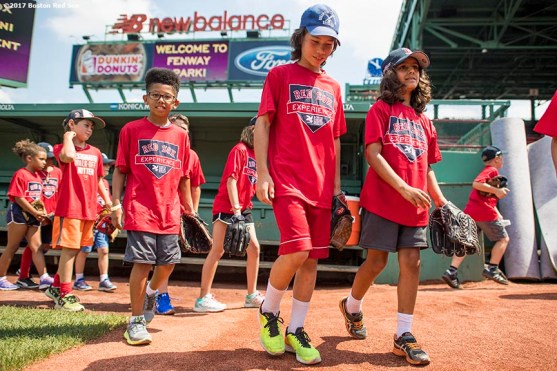 August 3, 2017, Boston, MA: Participants attend a Sox Talk Clinic at Fenway Park in Boston, Massachusetts Thursday, August 3, 2017. (Photo by Billie Weiss/Boston Red Sox)