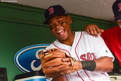 BOSTON, MA - AUGUST 14: Rafael Devers #11 of the Boston Red Sox reacts before a game against the Cleveland Indians on August 14, 2017 at Fenway Park in Boston, Massachusetts. (Photo by Billie Weiss/Boston Red Sox/Getty Images) *** Local Caption *** Rafael Devers