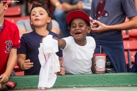 BOSTON, MA - AUGUST 14: Fans ask for autographs before a game between the Boston Red Sox and the Cleveland Indians on August 14, 2017 at Fenway Park in Boston, Massachusetts. (Photo by Billie Weiss/Boston Red Sox/Getty Images) *** Local Caption ***
