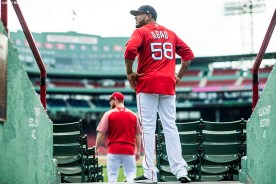 BOSTON, MA - AUGUST 16: Craig Kimbrel #6 and Fernando Abad #57 of the Boston Red Sox look on before a game against the St. Louis Cardinals on August 16, 2017 at Fenway Park in Boston, Massachusetts. (Photo by Billie Weiss/Boston Red Sox/Getty Images) *** Local Caption *** Craig Kimbrel; Fernando Abad