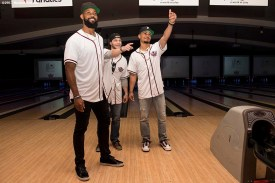 August 17, 2017, Boston, MA: Boston Red Sox left fielder Chris Young, left fielder Andrew Benintendi, and right fielder Mookie Betts react during the Mookie's Big League Bowl for Pitching In For Kids event at Lucky Strike Lanes in Boston, Massachusetts Thursday, August 17, 2017. (Photo by Billie Weiss/Boston Red Sox)