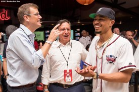 August 17, 2017, Boston, MA: Boston Red Sox right fielder Mookie Betts is greeted by Boston Red Sox chairman Tom Werner and president Sam Kennedy during the Mookie's Big League Bowl for Pitching In For Kids event at Lucky Strike Lanes in Boston, Massachusetts Thursday, August 17, 2017. (Photo by Billie Weiss/Boston Red Sox)