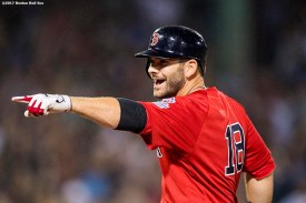 BOSTON, MA - AUGUST 18: Mitch Moreland #18 of the Boston Red Sox reacts after hitting a go ahead RBI single during the seventh inning of a game against the New York Yankees on August 18, 2017 at Fenway Park in Boston, Massachusetts. (Photo by Billie Weiss/Boston Red Sox/Getty Images) *** Local Caption *** Mitch Moreland