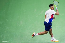 August 30, 2017, New York City, NY: Jo-Wilfried Tsonga in action during a match against Denis Shapovalov during the 2017 US Open Tennis Championships at the Billie Jean King National Tennis Center in New York, New York Wednesday, August 30, 2017. (Photo by Billie Weiss/US Open Tennis Championships)