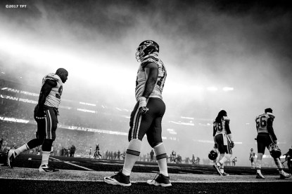 Members of the Kansas City Chiefs warm up before the opening game of the 2017 NFL season against the New England Patriots at Gillette Stadium in Foxborough, Mass. on Sept. 7, 2017. (Photo by Billie Weiss/The Players' Tribune)