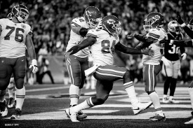 Demetrius Harris #84 of the Kansas City Chiefs reacts after catching a touchdown pass during the opening game of the 2017 NFL season against the New England Patriots at Gillette Stadium in Foxborough, Mass. on Sept. 7, 2017. (Photo by Billie Weiss/The Players' Tribune)