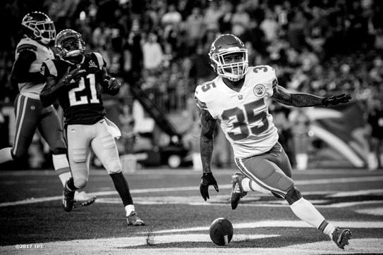 Charcandrick West #35 of the Kansas City Chiefs reacts after scoring a touchdown during the opening game of the 2017 NFL season against the New England Patriots at Gillette Stadium in Foxborough, Mass. on Sept. 7, 2017. (Photo by Billie Weiss/The Players' Tribune)