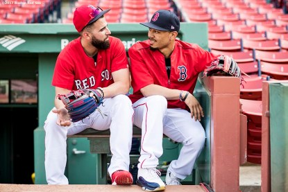 BOSTON, MA - SEPTEMBER 12: Deven Marrero #17 and Mookie Betts #50 of the Boston Red Sox talk before a game against the Oakland Athletics on September 12, 2017 at Fenway Park in Boston, Massachusetts. (Photo by Billie Weiss/Boston Red Sox/Getty Images) *** Local Caption *** Deven Marrero; Mookie Betts