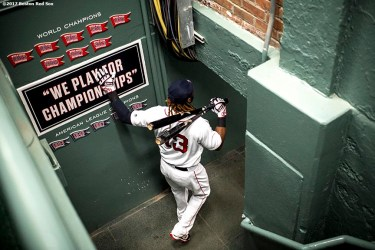 BOSTON, MA - SEPTEMBER 13: Hanley Ramirez #13 of the Boston Red Sox walks down the stairs before a game against the Oakland Athletics on September 13, 2017 at Fenway Park in Boston, Massachusetts. (Photo by Billie Weiss/Boston Red Sox/Getty Images) *** Local Caption *** Hanley Ramirez