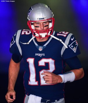 FOXBORO, MASSACHUSETTS - SEPTEMBER 24: Tom Brady #12 of the New England Patriots exits the tunnel before a game against the Houston Texans during a game at Gillette Stadium on September 24, 2017 in Foxboro, Massachusetts. (Photo by Billie Weiss/Getty Images) *** Local Caption *** Tom Brady