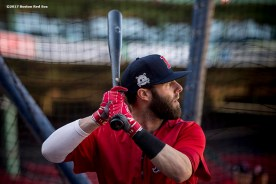 BOSTON, MA - OCTOBER 3: Dustin Pedroia #15 of the Boston Red Sox takes batting practice during a workout before the American League Division Series against the Houston Astros on October 3, 2017 at Fenway Park in Boston, Massachusetts. (Photo by Billie Weiss/Boston Red Sox/Getty Images) *** Local Caption *** Dustin Pedroia