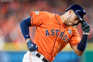 HOUSTON, TX - OCTOBER 6: Carlos Correa #1 of the Houston Astros rounds the bases after hitting a two run home run during the first inning of game two of the American League Division Series against the Boston Red Sox on October 6, 2017 at Minute Maid Park in Houston, Texas. (Photo by Billie Weiss/Boston Red Sox/Getty Images) *** Local Caption *** Carlos Correa